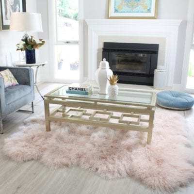 Pink Fluffy Rug styled in living room