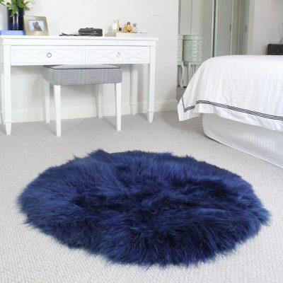Round Sheepskin Rug - Blue