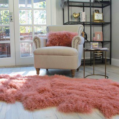 Mongolian Fur Rug Pink Rust - quad