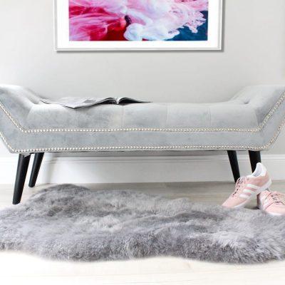 Grey Icelandic Sheepskin Rug - Short wool
