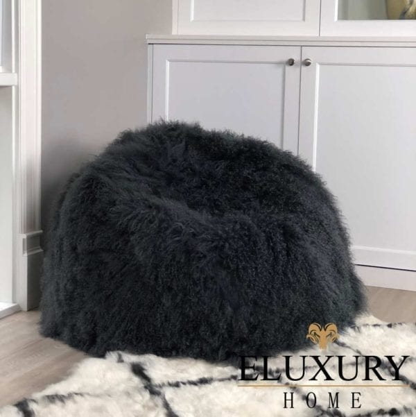Fur Bean Bag - Grey Charcoal Mongolian Sheepskin