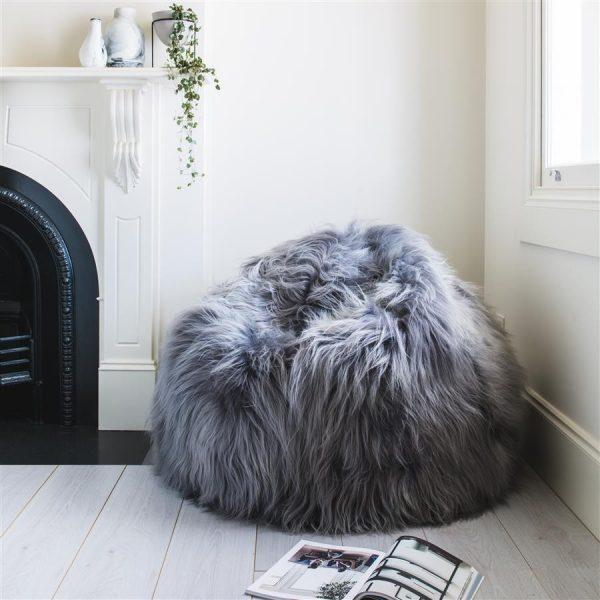 Shaggy Bean Bag Grey - Icelandic Sheepskin