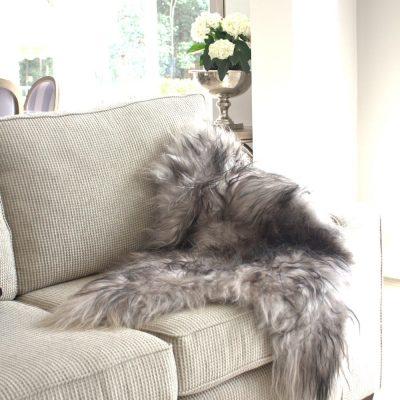 Icelandic Sheepskin Throw - Grey & Black