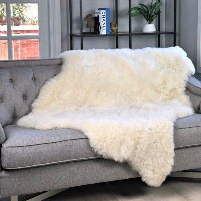 Large Sheepskin Throw for Sofa
