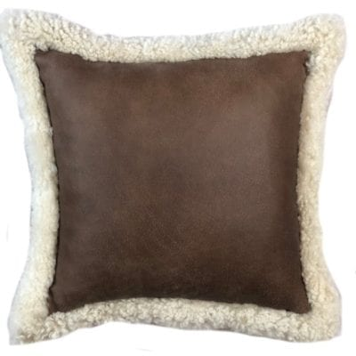 Brown Leather Cushion & Shearling