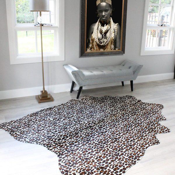Cheetah Print Cowhide Rug