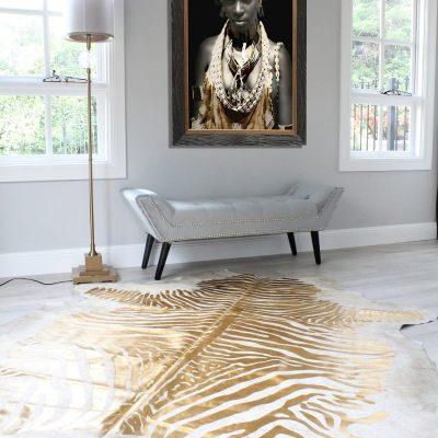 Zebra Cowhide Rug - Gold Limited Edition