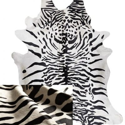 Tiger Print Cowhide Rug - Snow Tiger