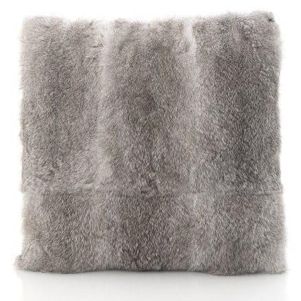grey rabbit fur cushion