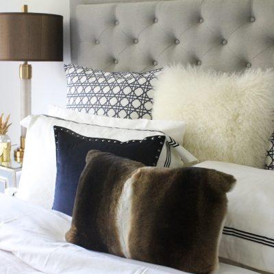 rabbit fur pillow - natural