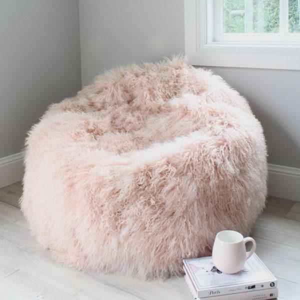 Fur Bean Bag Pink - Mongolian Sheepskin