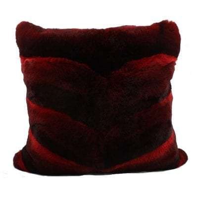 Red Fur Pillow Cover