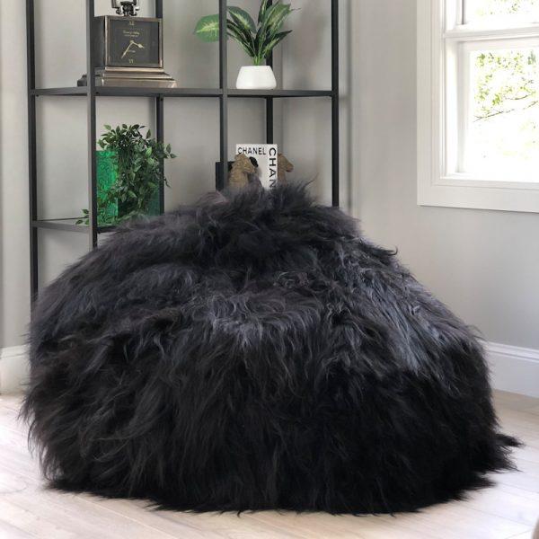 black-shaggy-bean-bag-eluxury-home