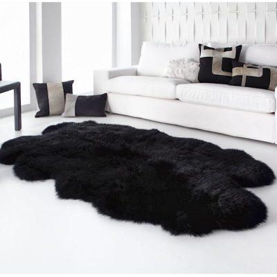 Black sheepskin rug quad