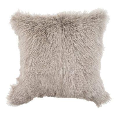 goatskin cushion light grey