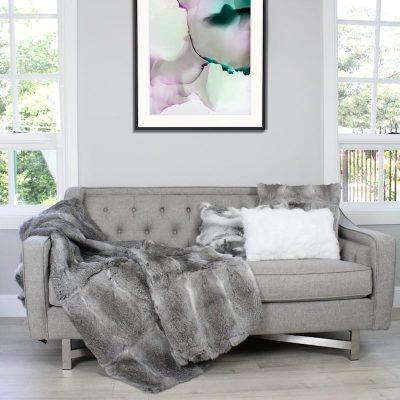 rabbit fur blanket grey