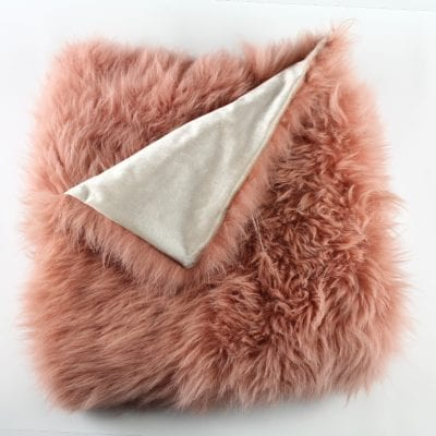 fur throw pink rust