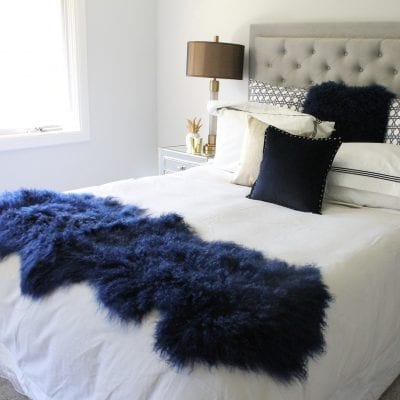 Fur bed Throw - Mongolian Duo - Navy-01-4