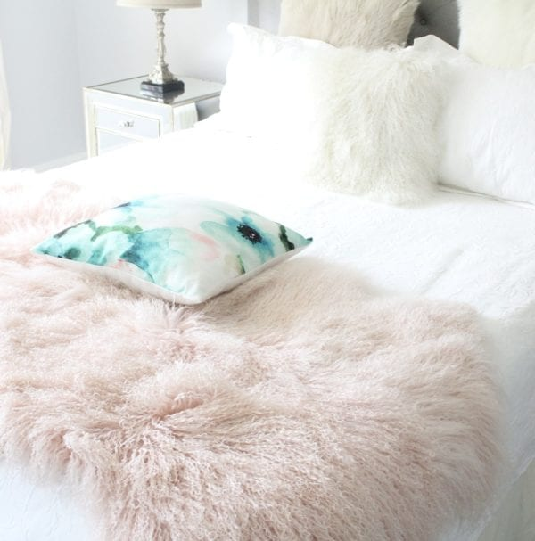 Blush Pink Fur Throw - Mongolian Quad