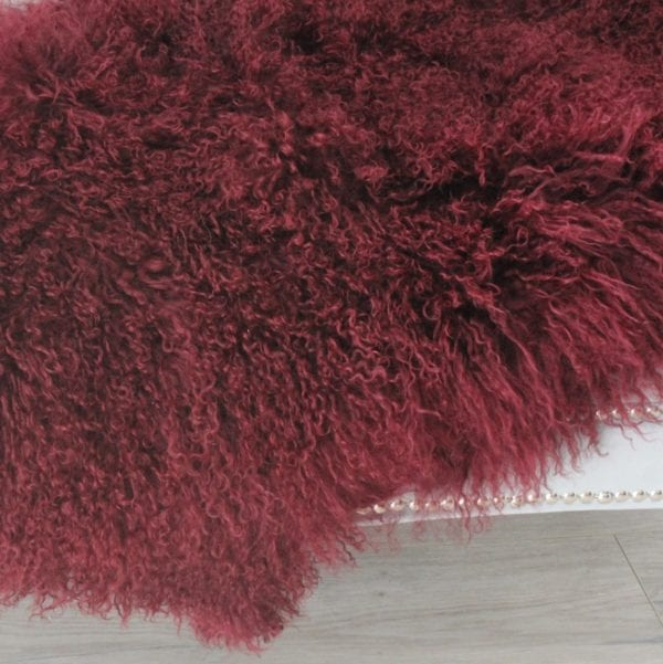Fur Throw - Mongolian Duo - Red Wine03