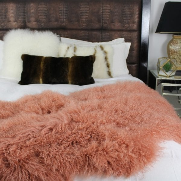 Fur Bed Throw - Mongolian Quad - Pink Rust1