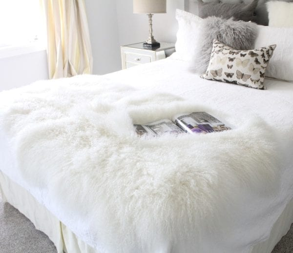 Fur Bed Throw - Mongolian Quad - Natural White-1-20
