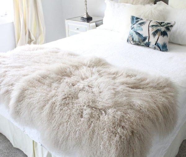 fur Bed Throw - Mongolian Quad - Latte-1-25
