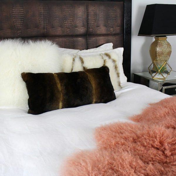 Fur Bed Throw - Mongolian Quad - Pink Rust2