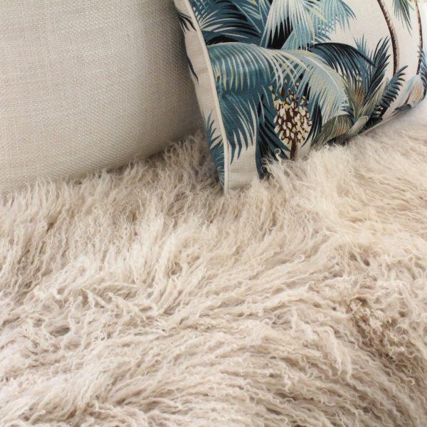 Fur Bed Throw - Mongolian Quad - Latte-2