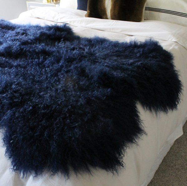 Fur Bed Runner - Mongolian Quad - Navy