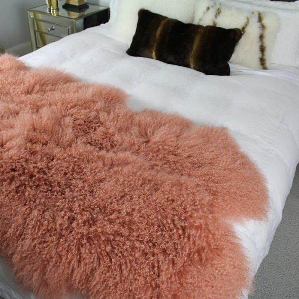 Fur Bed Throw - Mongolian Quad - Pink Rust3