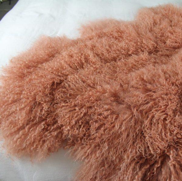Fur Bed Throw - Mongolian Quad - Pink Rust5