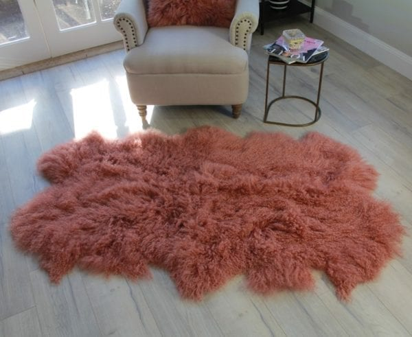 Fur Bed Throw - Mongolian Quad - Pink Rust6