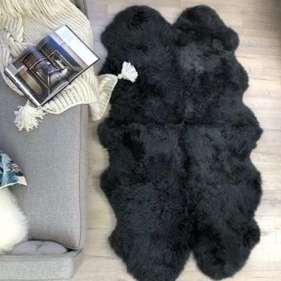 dark grey sheepskin rug quad