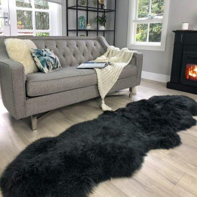 Double sheepskin rug grey Steel
