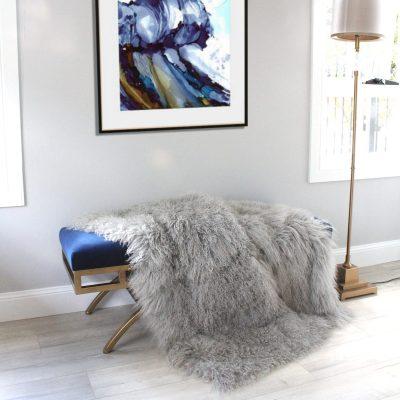 grey fur throw blanket