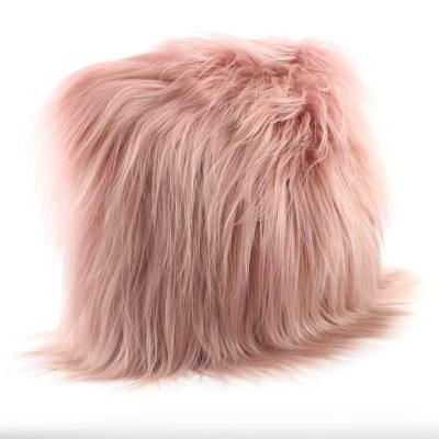 pink shaggy cushion
