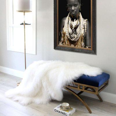 white fur throw