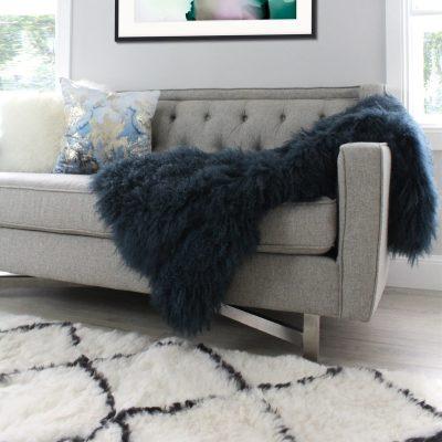 fur throw blanket teal