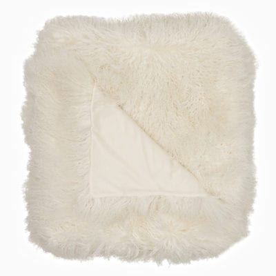 natural white fur blanket