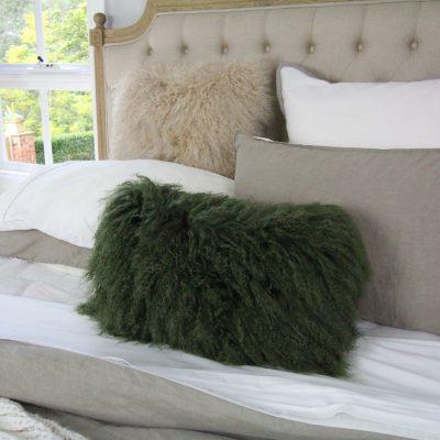 mongolian sheepskin cushion green
