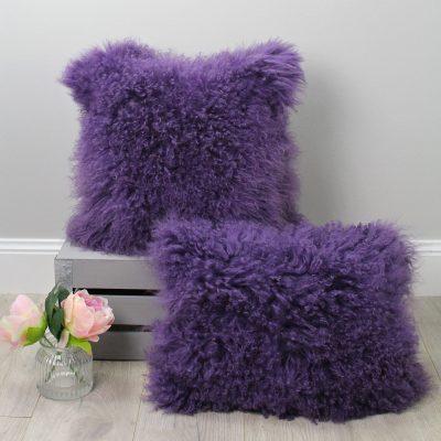 mongolian fur cushions purple