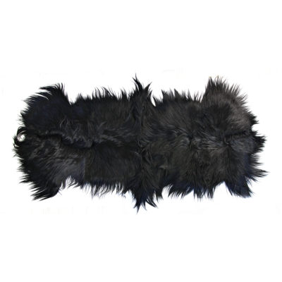 goat skin rug black double