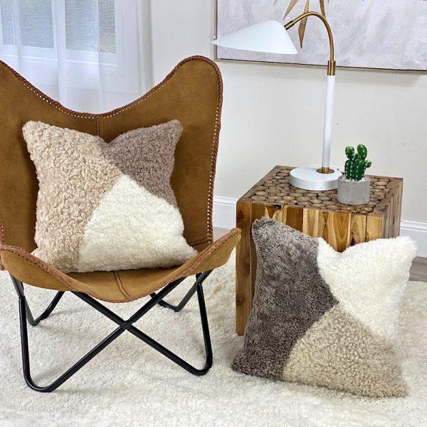 shearling cushions - abstract pebbles