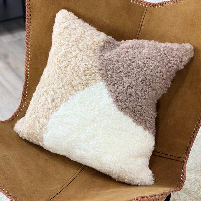 abstract cushion- shearling sheepskin earth