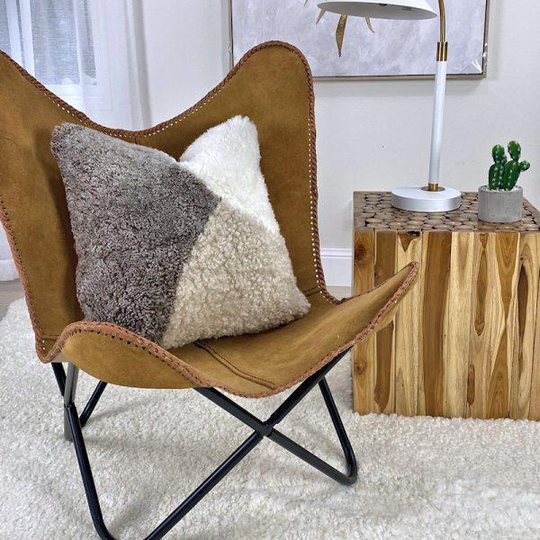 shearling cushion abstract pebble stone
