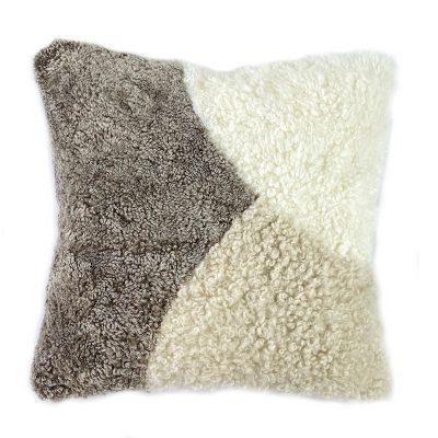 abstract cushion - shearling sheepskin stone