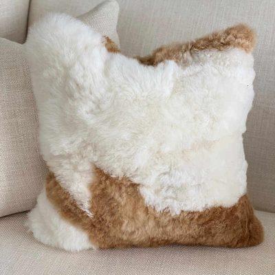 alpaca cushion light caramel