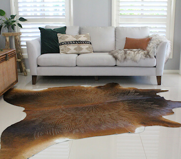 COWHIDE RUGS - LASER ETCHED