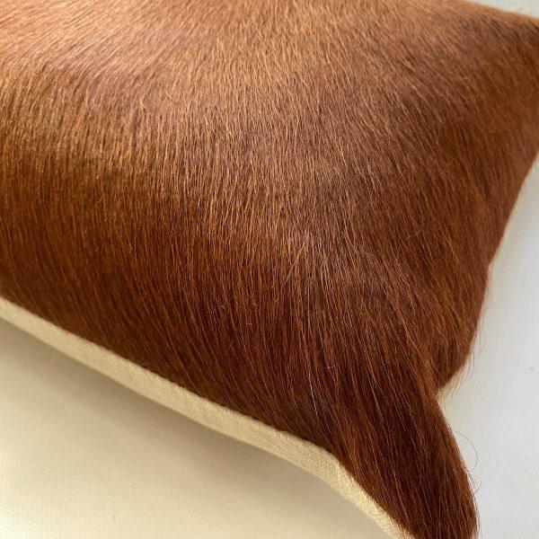 Tan cowhide cushion 35x50cm